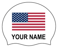 Swimzee.com -  American Flag Silicone Caps with Your Individual Name